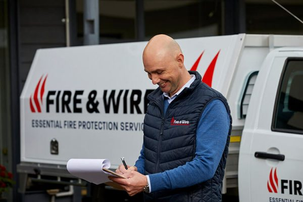 Fire and Wire fire protection team member at work