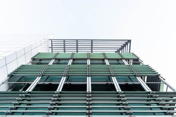 Exterior view an apartment development with building cladding