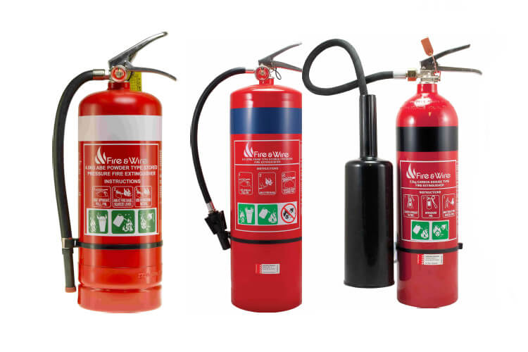 selection of fire extinguishers