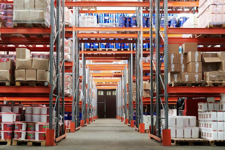 Shelving in a well-organised and safe warehouse